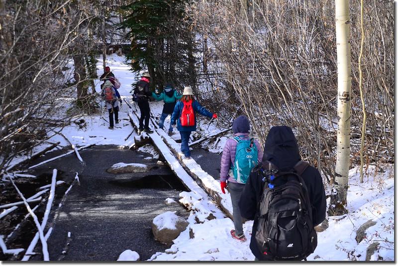 Crossing log bridge at the creek 1
