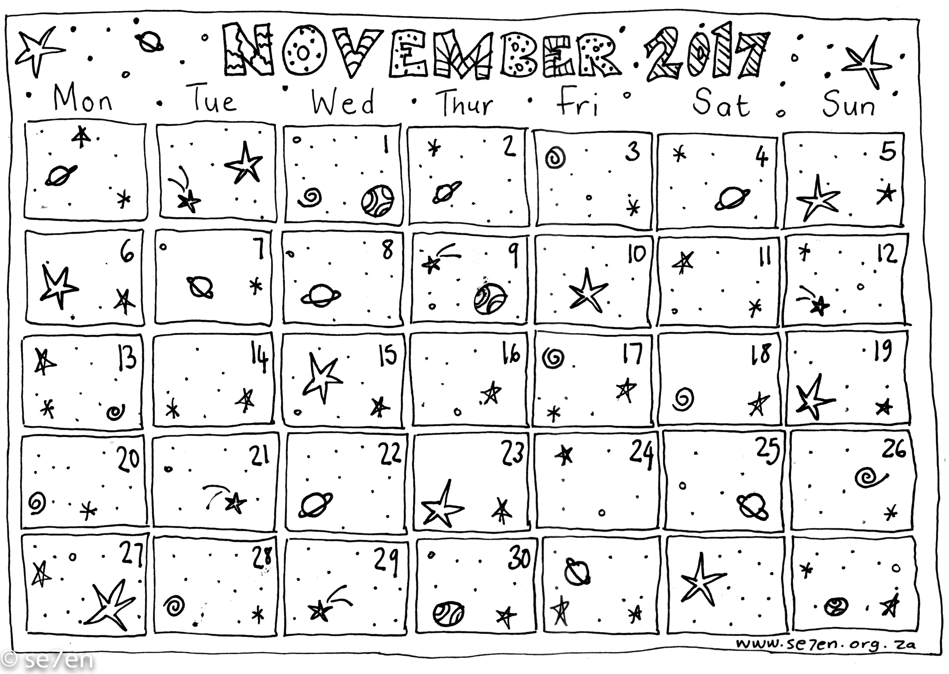 picture regarding Free Printable Calendar November identify Se7ens November and Your Free of charge Printable Calendar se7en