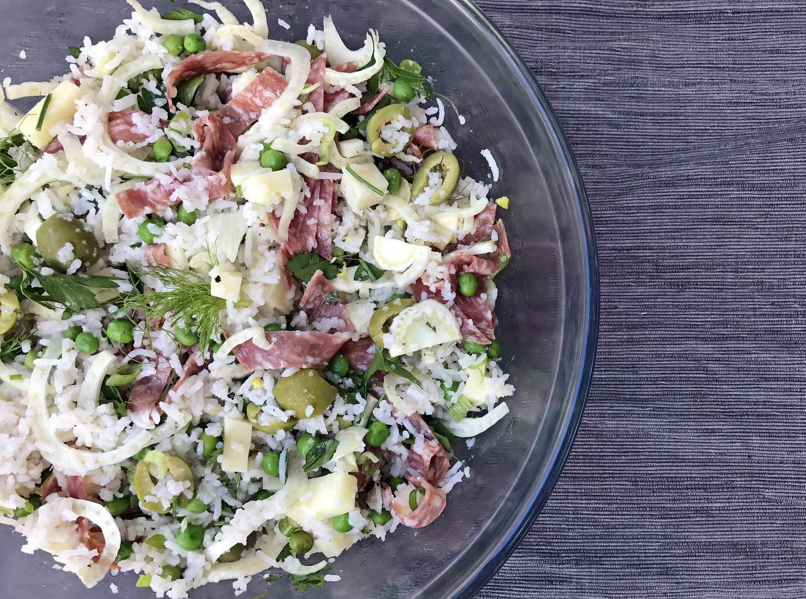 Rice salad with soppressata and mozzarella