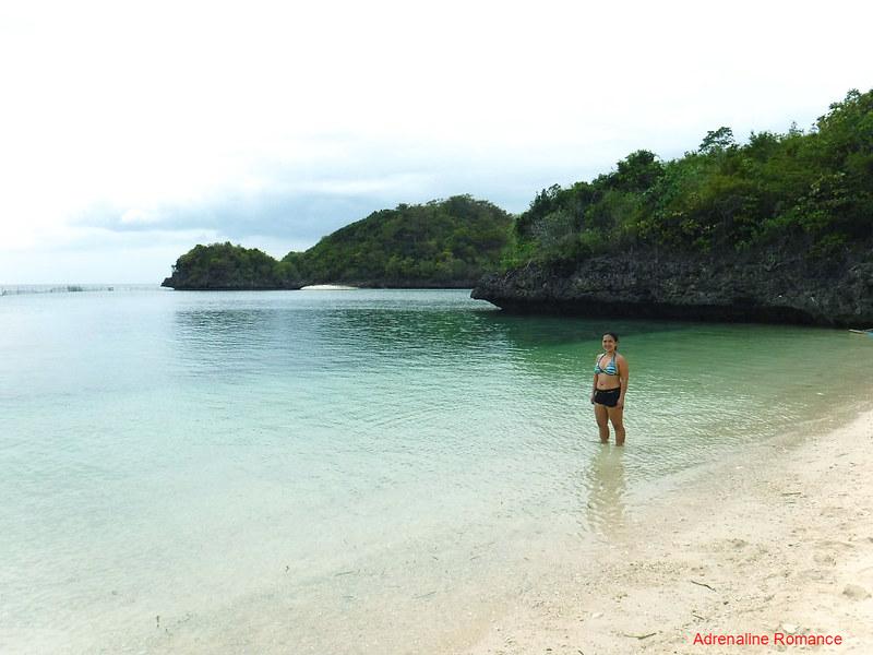 Sandy beach, aquamarine waters