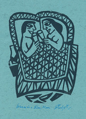 Linocut, Once in a Blue Moon, by Willie Rodger