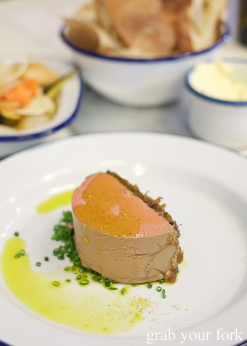 Chicken liver parfait at Mr Liquor's Dirty Italian Disco by Pinbone at the Tennyson Hotel Bottle Shop in Mascot