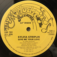 SYLVIA STARIPLIN:GIVE ME YOUR LOVE(LABEL SIDE-A)