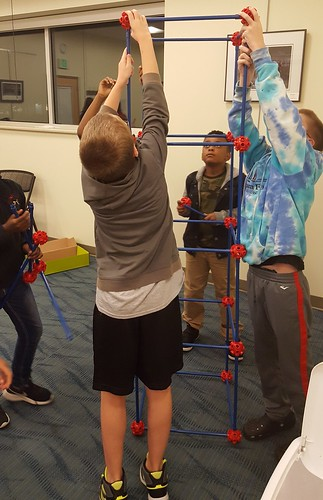 Calvert Library posted a photo:	Theme: Structure. Kids built tall towers and made their own skeletons.