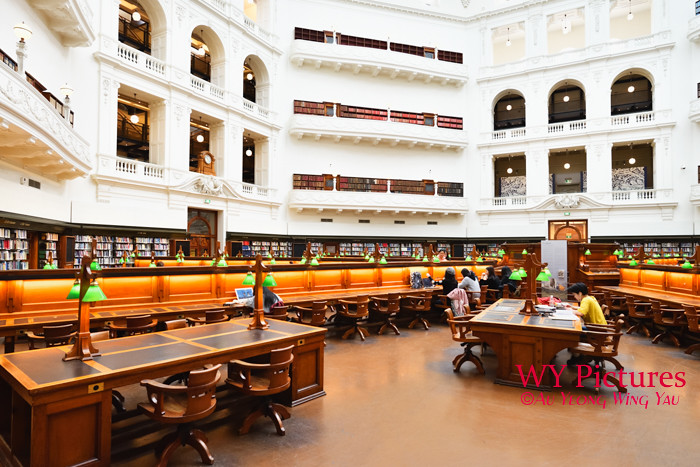 Melbourne 2017:  State LIbrary Of Victoria La Trobe Reading Room Visitors And Reading Desks