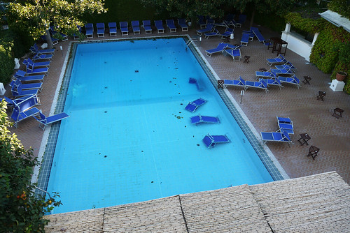 Hotel Pool After a Windy Night