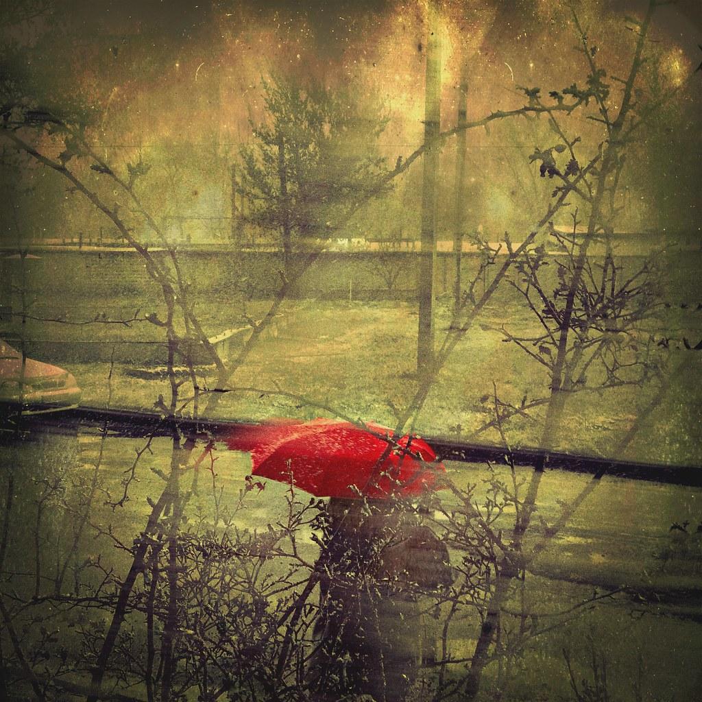 •Red umbrella