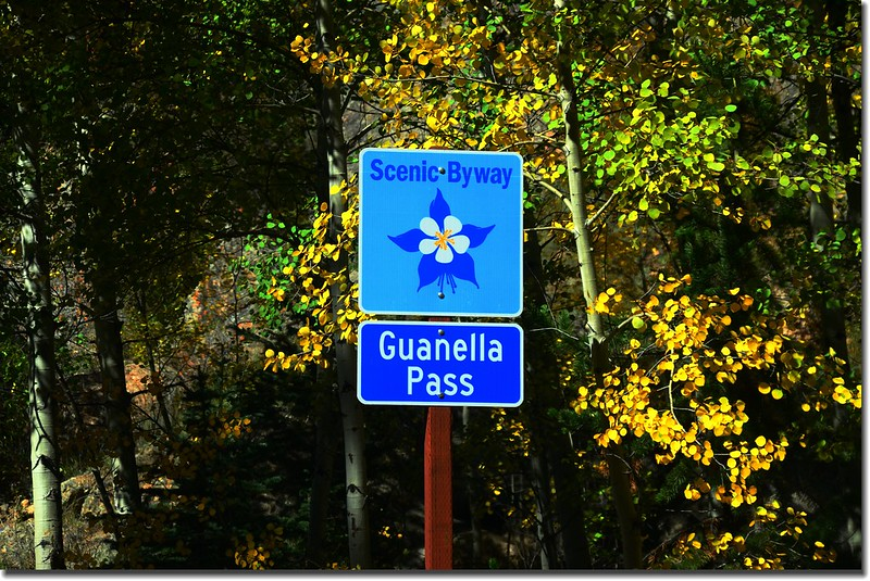Guanella Pass road and sign