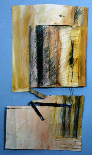 Large (4' x 8') folded painting on Arches watercolour paper with additions of rusted wire and found metal.