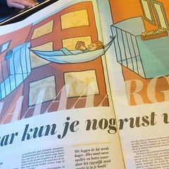 I love seeing my illustrations in the newspaper in the wild. @metro #treinleven #illustratie #metro #dagblad #newspeper #krant #illustration