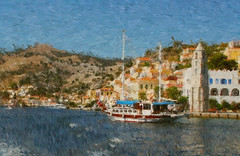 Schooner in harbour, Symi, Greece.