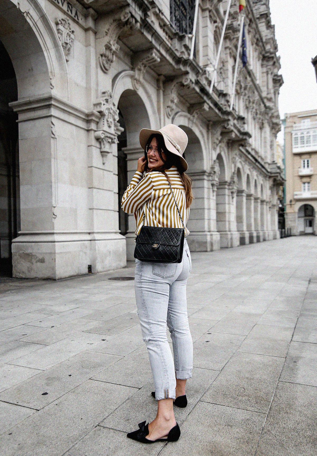 blusa rayas mostaza zara levis skinny 501 streetstyle