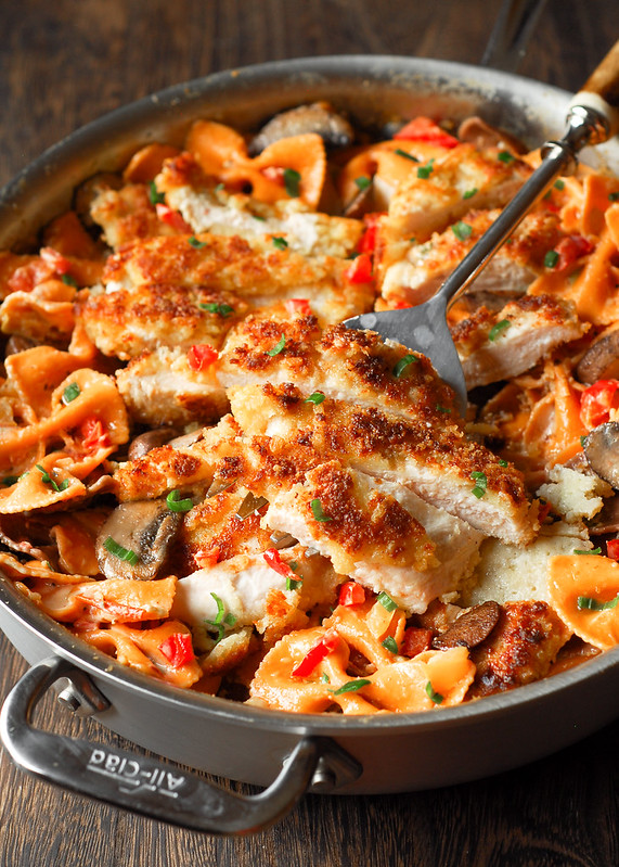 Louisiana Chicken Pasta - Parmesan Crusted Chicken in a Spicy New Orleans Sauce