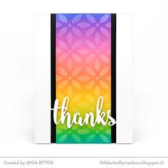 My Favorite Thanks • Stenciled Rainbow BG • Floating Thanks