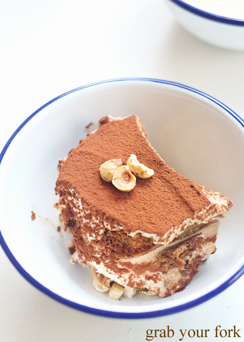 Hazelnut tiramisu at Mr Liquor's Dirty Italian Disco by Pinbone at the Tennyson Hotel Bottle Shop in Mascot