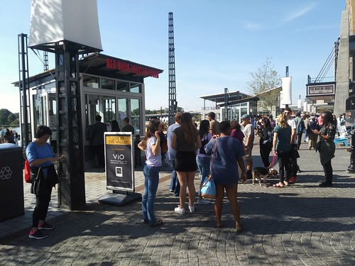 "The line for the Red Hook Lobster concession stand at The Wharf, on the stone ""boardwalk"" on the Washington Channel"