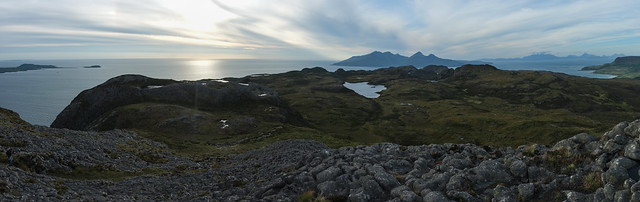Muck, Rum and Skye view from An Sgurr, Eigg