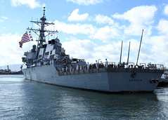 USS Hopper (DDG 70) departs Joint Base Pearl Harbor-Hickam, Sept. 28. (U.S. Navy/MC1  Jeff Troutman)