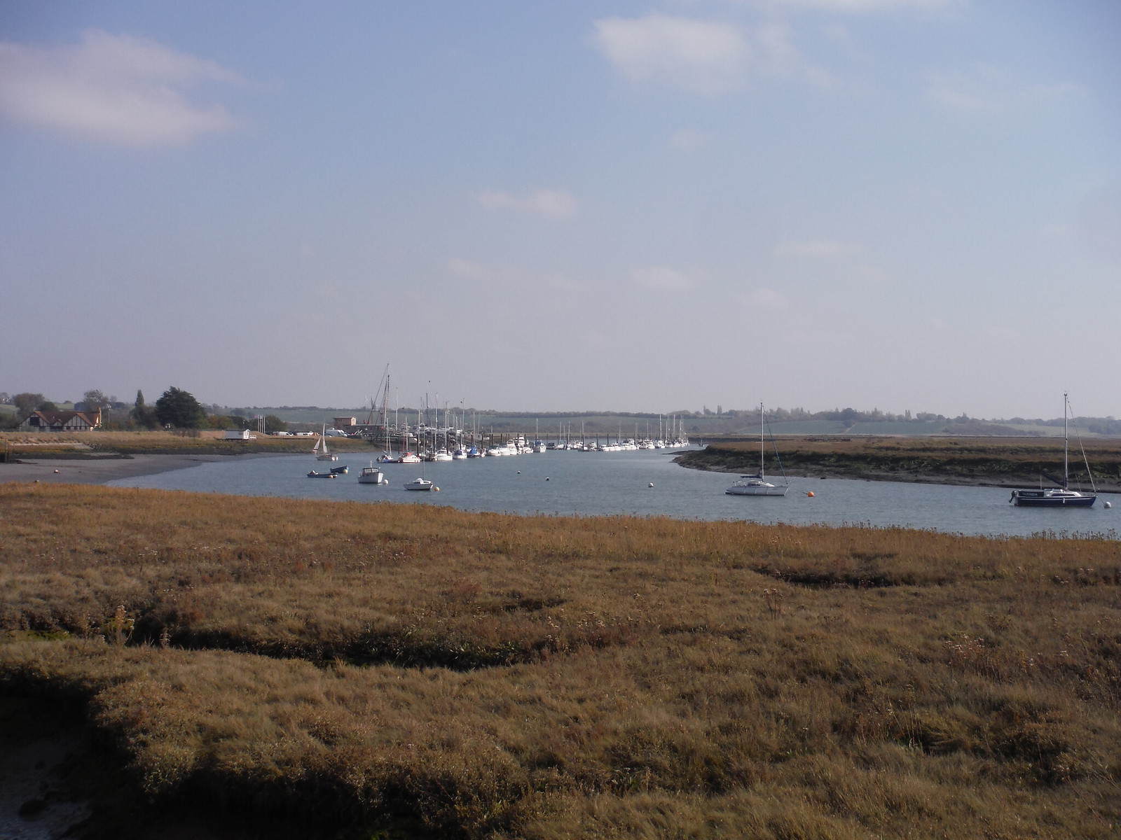 Bridgemarsh Marina viewed down Althorne Creek SWC Walk 162 North Fambridge to Burnham-on-Crouch