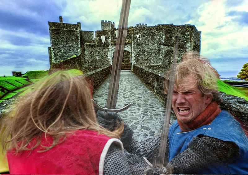 Dover Castle Barbican with hand-to-hand combat (composite). Credit Jim, flickr, Sander van der Wel