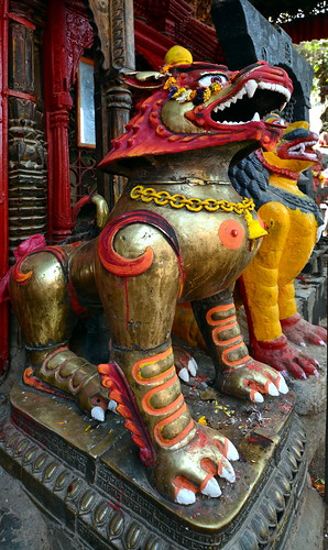 Nepal - Kathmandu - Temple Lion - 1