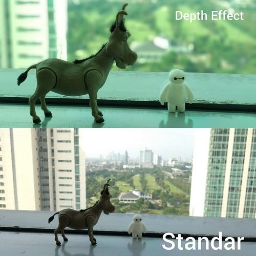 Hasil foto dengan modus Depth Effect dan modus Standar