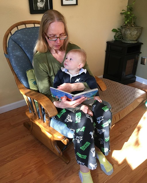 Reading time with Grammy Kim. 💙