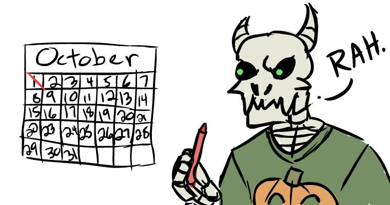 october 1 skeleton calendar halloween drawlloween
