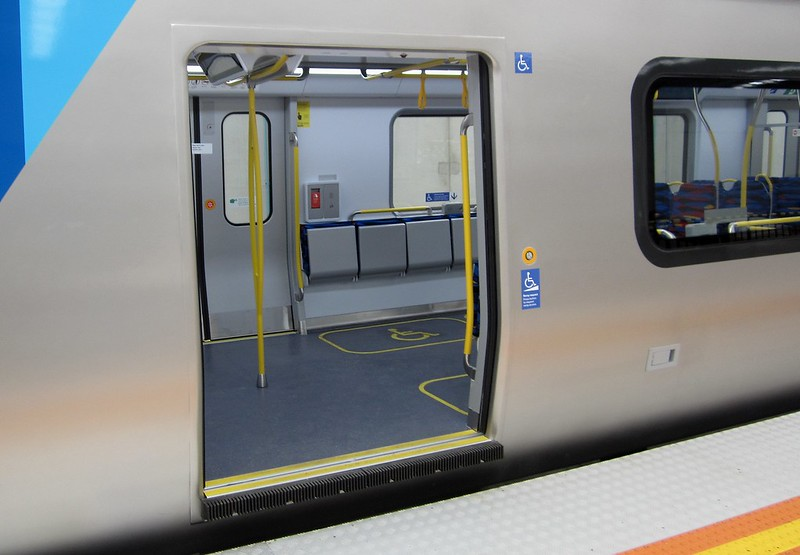 Doorway, showing gap filler, external passenger assistance button - these may not be on the final version of the train