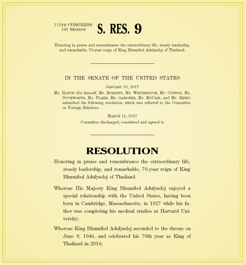 United States Senate Resolution 9, March 15, 2017