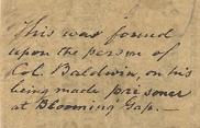 1861 10 cent Winchester VA note back inscription closeup