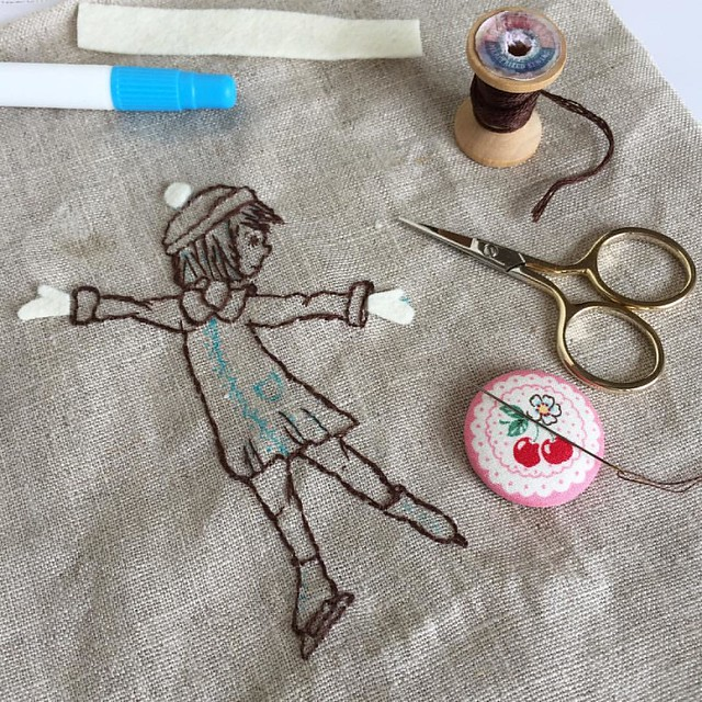 Now she needs some colour... ❄️😊 . #wip #workinprogress #sketch #needlework #handstitched #embroidery #dmcfloss #sewingaccessories #needleminder #handstitching #stitching #tinystitches #linen #embroideryonlinen #backstitch