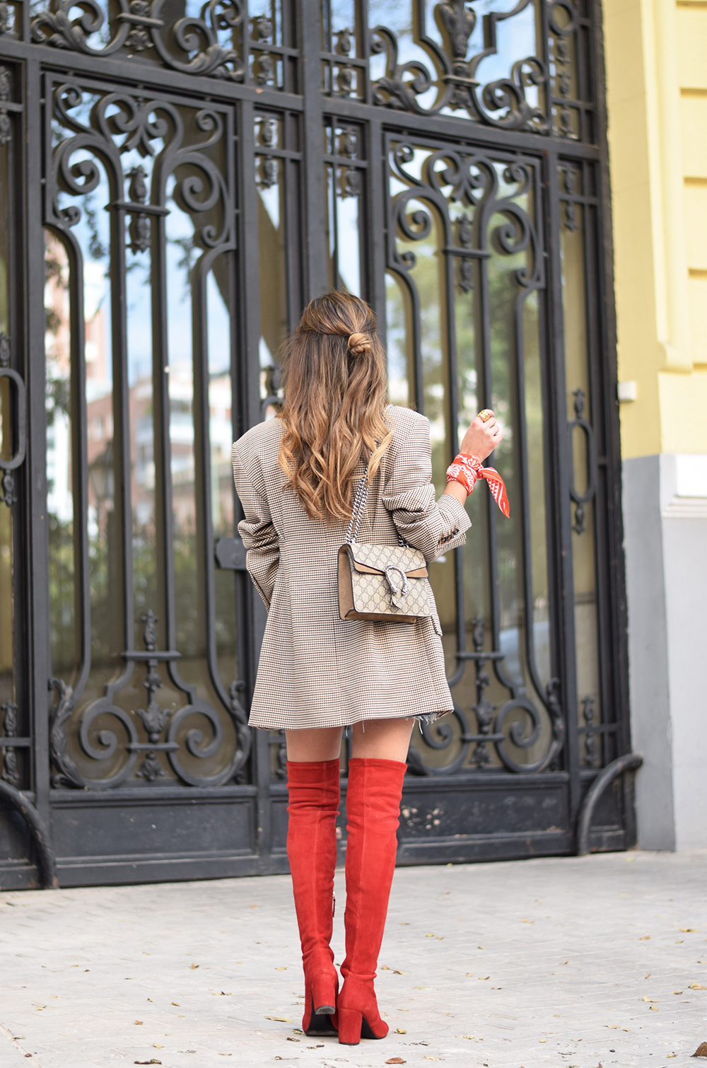 Houndstooth blazer denim skirt gucci bag red over the knee boots autumn outfit style fashion11