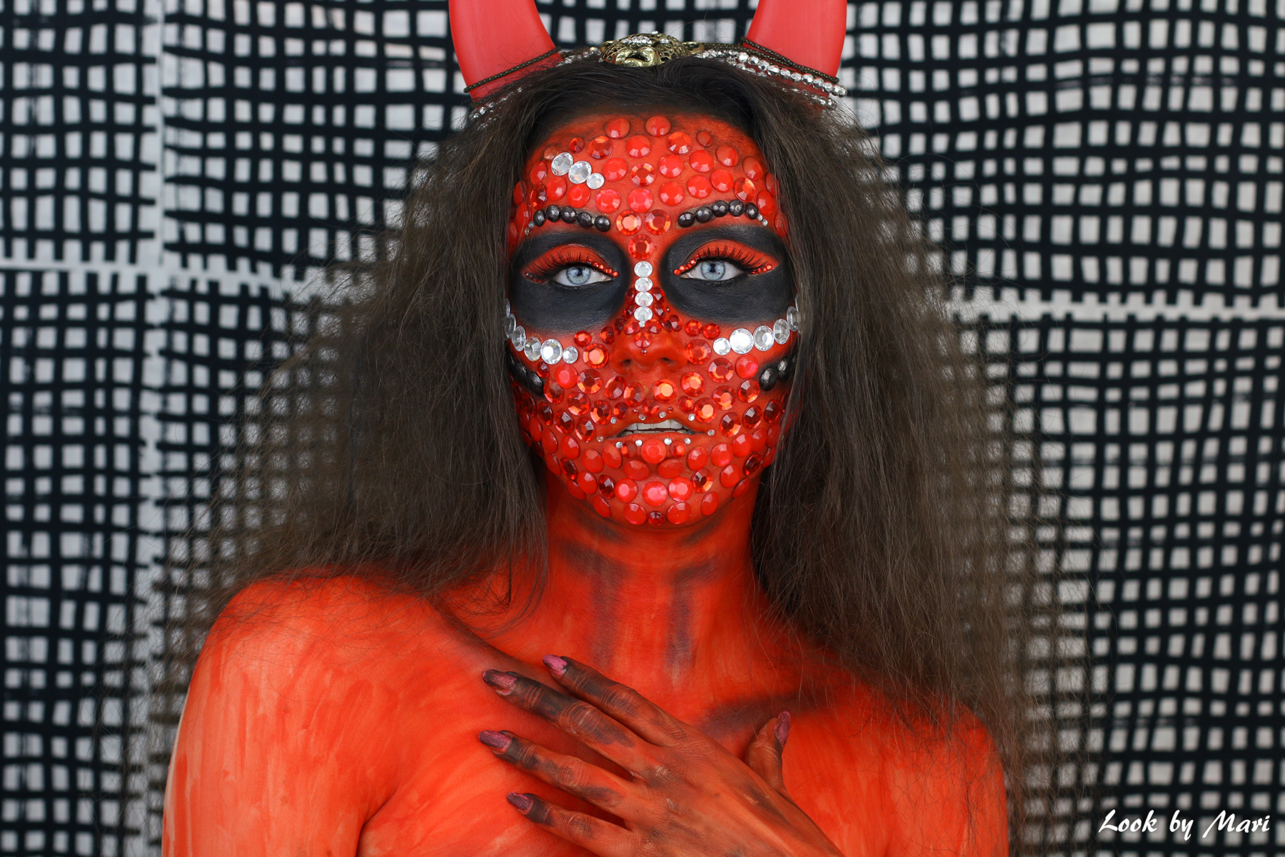 1 halloween devil makeup tutorial ideas inspiration inspo red rhinestones blog video