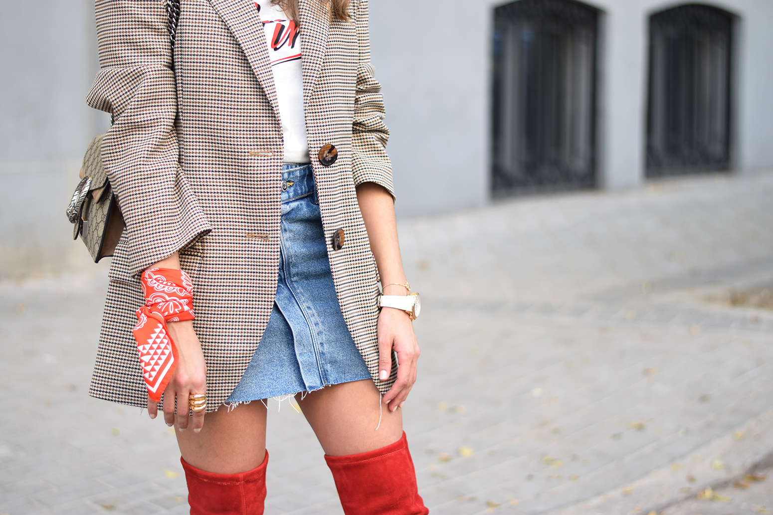 Houndstooth blazer denim skirt gucci bag red over the knee boots autumn outfit style fashion20