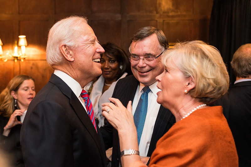 Ambassador Geir Haarde and Inga Jona Thordardottir of Iceland with Vice President biden - 2017 Global Leaderhship awards