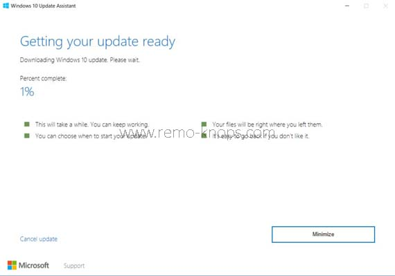 Windows 10 Update Assistant - Force Fall Creators Update download 219