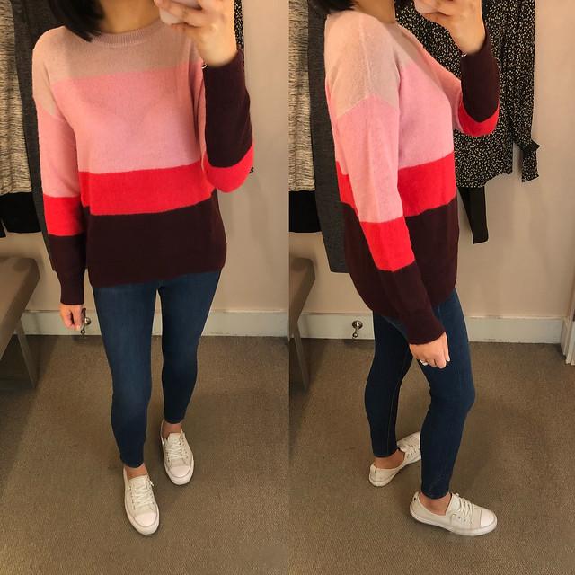 LOFT Striped Boyfriend Sweater, size XXSP