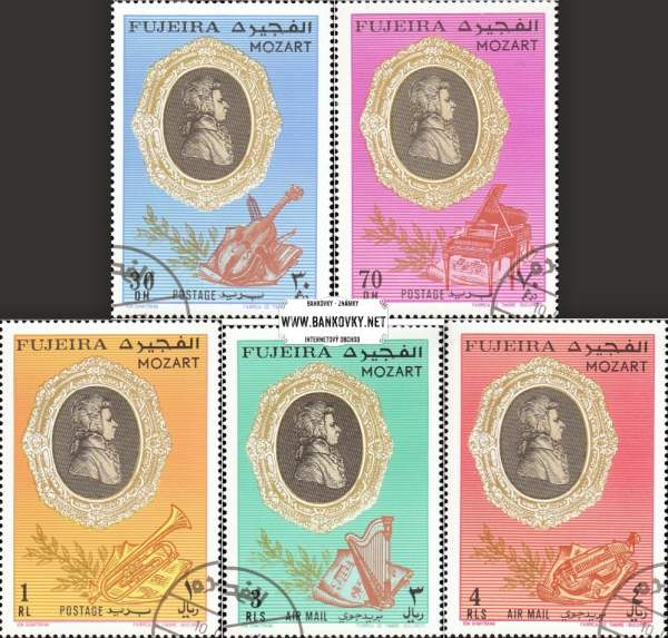 Známky Fujeira 1971 Wolfgang Amadeus Mozart, razítkovaná séria