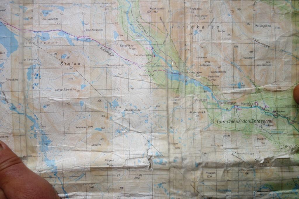 Map over the area towards Kvikkjokk.