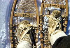 John Macfie's feet, harnessed to snowshoes in the Ojibway/Cree fashion
