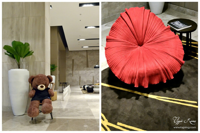 Seda Bear at the lobby (left) and red chair (right)