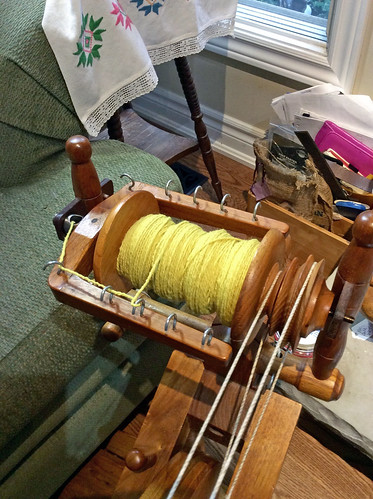 Handspun natural dyed Targhee wool yarn and Watson Martha spinning wheel by irieknit