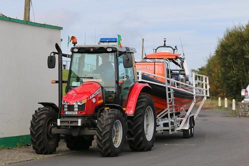 25th September 2017. Irish Coast Guard Massey Ferguson 5440 Tractor and Mystical Rose Rib Lifeboat at Killala, County Mayo, Ireland