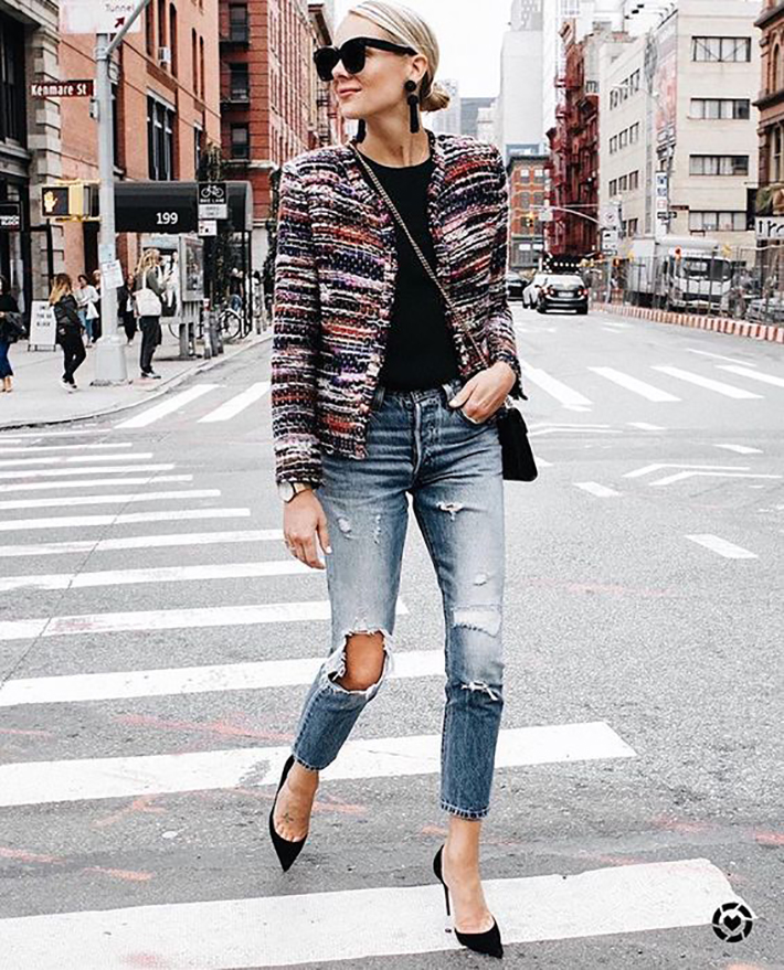 autumn outfits stripes plaid blazer street style trend style outfit 2017 accessories denim6