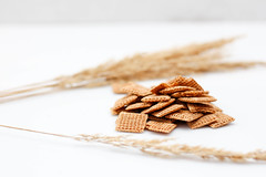 Cereal and Wheat on a White Background