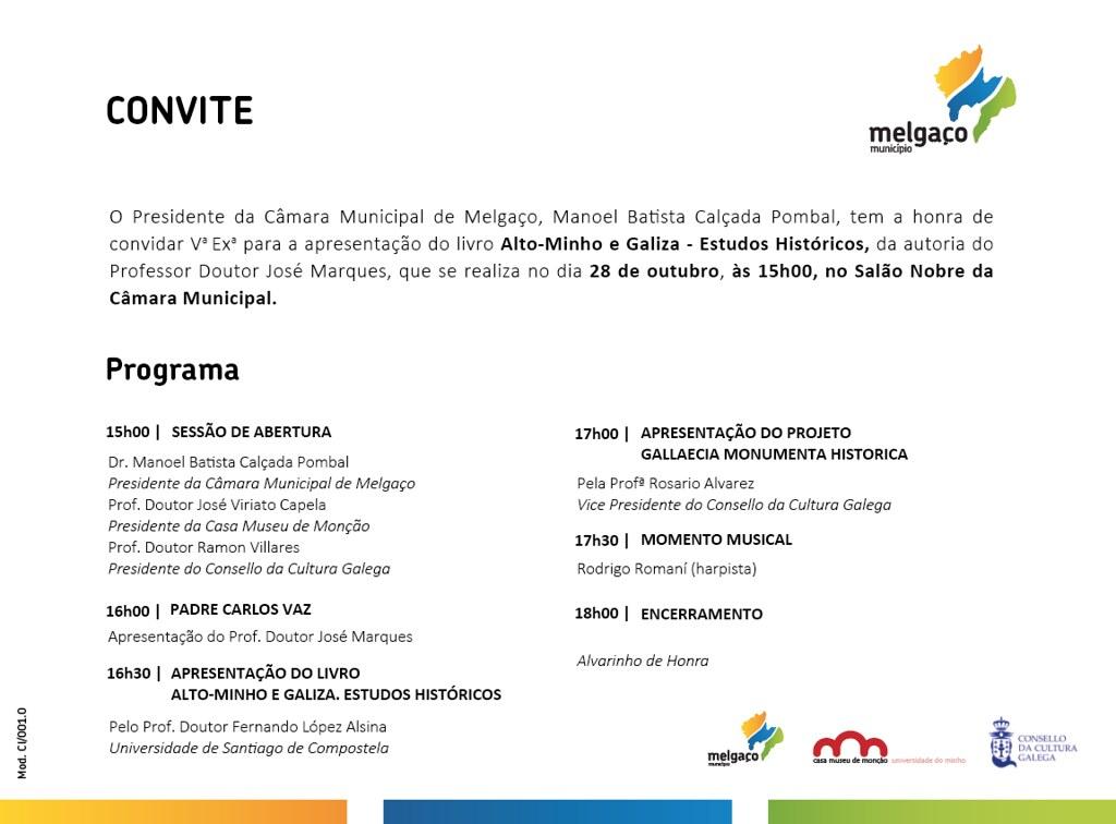 Convite programa 28 outubro Melgaço