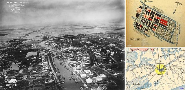 Không ảnh Bạc Liêu thập niên 1930 - Bản đồ Bạc Liêu 1896-1930