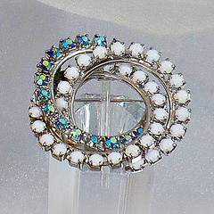 Vintage Milk Glass and Blue AB Rhinestone Three Circle Brooch. Silver Tone Three Circle Rhinestones Pin.