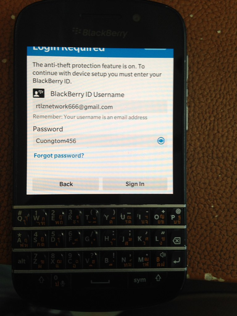 Xóa BlackBerry Z10, Q10, Q20, Z20 Anti Theft ID Protect